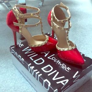Wild Diva Lounge Red Studded Heels